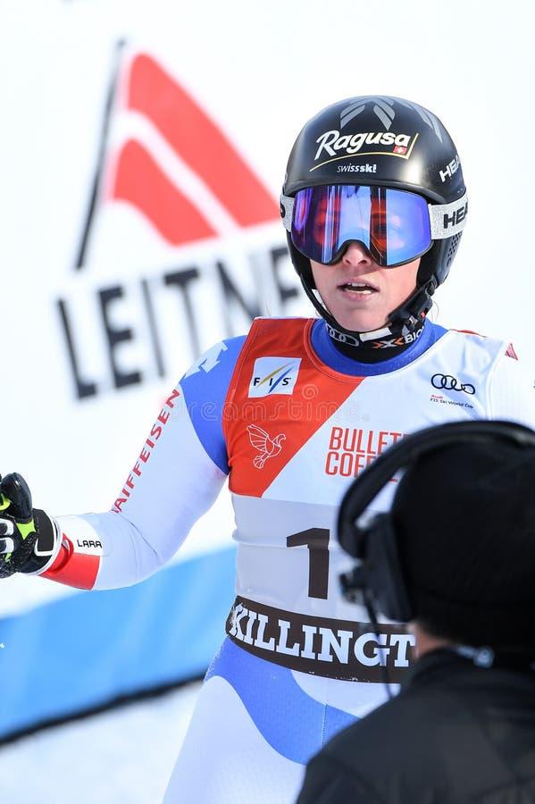Lara Gut of SUI competes in the first run of the Giant Slalom. KILLINGTON, VERMONT - NOVEMBER 24: Lara Gut of SUI competes in the first run of the Giant Slalom stock photos