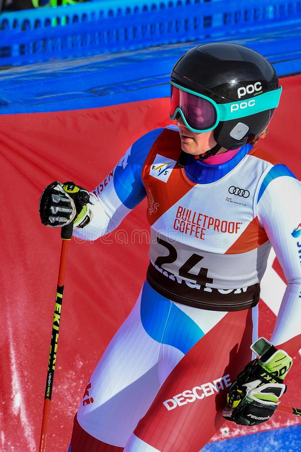Simone Wild of SUI competes in the first run of the Giant Slalom. KILLINGTON, VERMONT - NOVEMBER 24: Simone Wild of SUI competes in the first run of the Giant stock images