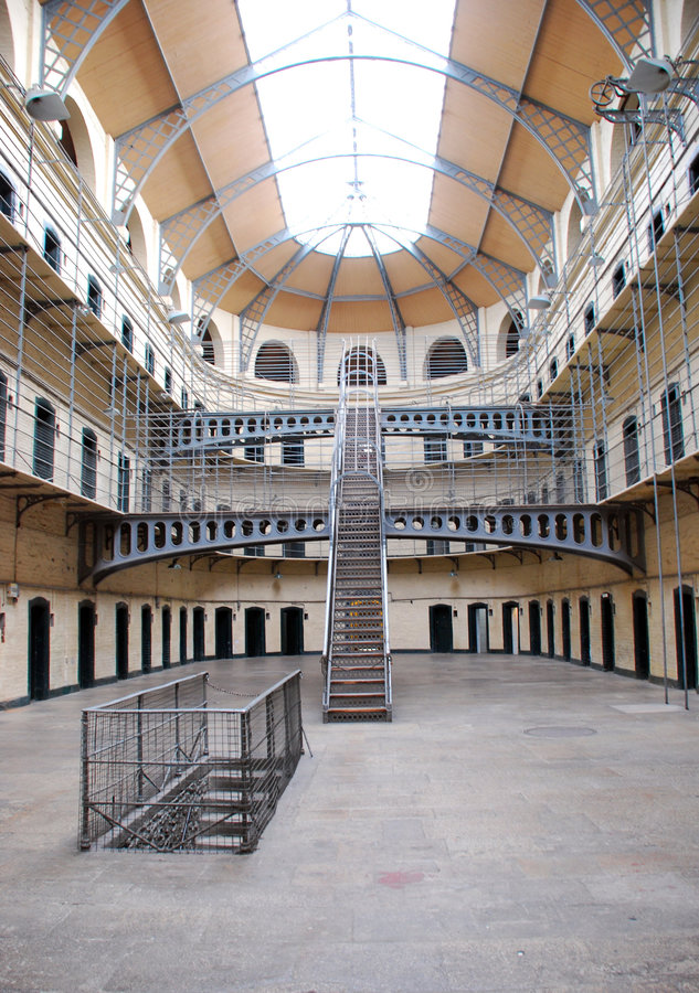 Kilmainham Gaol - Old Dublin prison. Kilmainham Gaol (Príosún Chill Mhaighneann) is a former prison, located in Inchicore in Dublin, which is now a museum stock photo