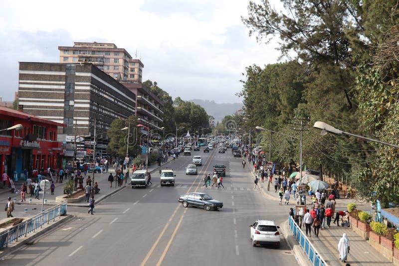 Streets of Addis Ababa, Ethiopia. 4 kilo area, Streets of Addis Ababa, Ethiopia royalty free stock images