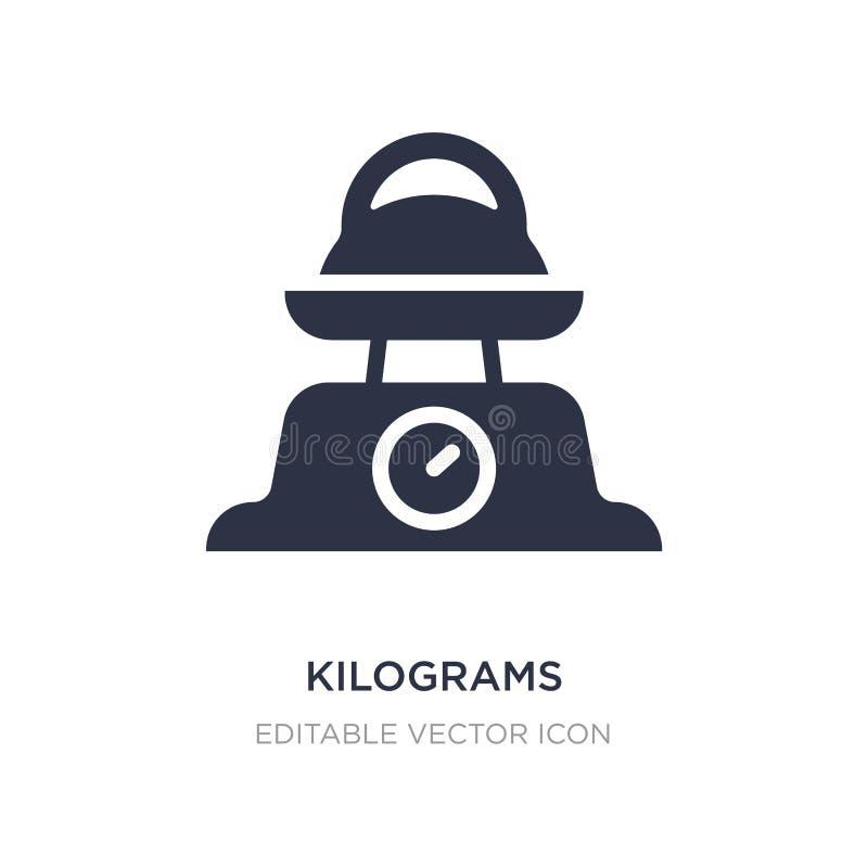 Kilogramm Ikone auf weißem Hintergrund Einfache Elementillustration von anderem Konzept stock abbildung