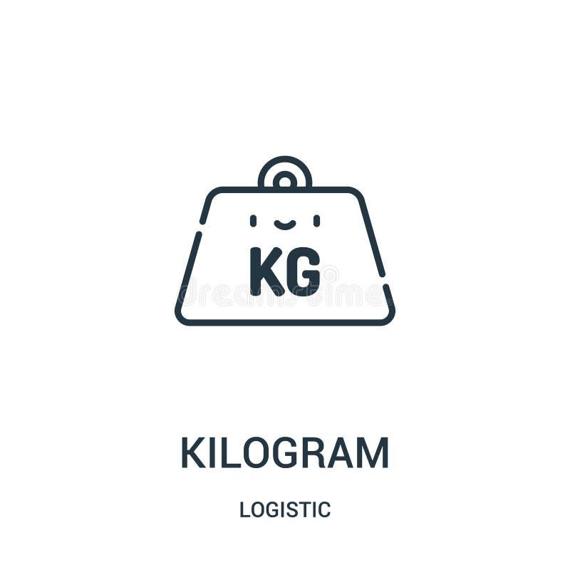 Kilogrammikonenvektor von der logistischen Sammlung Dünne Linie Kilogrammentwurfsikonen-Vektorillustration lizenzfreie abbildung