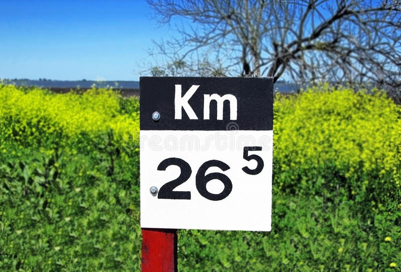 Kilometers Sign Post Stock Photography