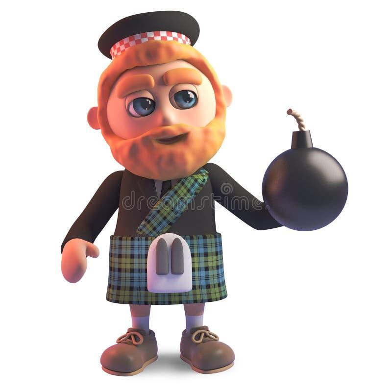 Kilt dos desenhos animados que veste o homem escocês que guarda uma bomba, ilustração 3d ilustração stock
