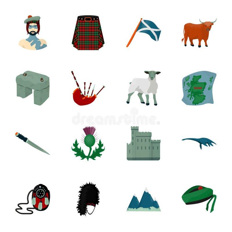 Kilt, Dudelsäcke, Disteln sind nationale Themen von Schottland Vector gesetzte Sammlungsikonen Schottlands in der Karikaturart Sy stock abbildung