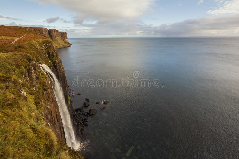 Kilt rock waterfall in Scottish highlands - a miracle of nature stock photo