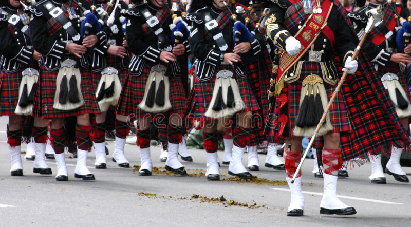 Kilted Bagpipe players stock photos
