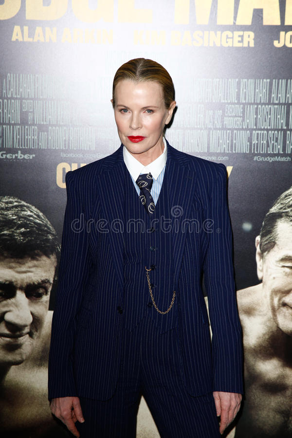 Kim Basinger. NEW YORK-DEC 16: Actress Kim Basinger attends the world premiere of Grudge Match at the Ziegfeld Theatre on December 16, 2013 in New York City royalty free stock photo