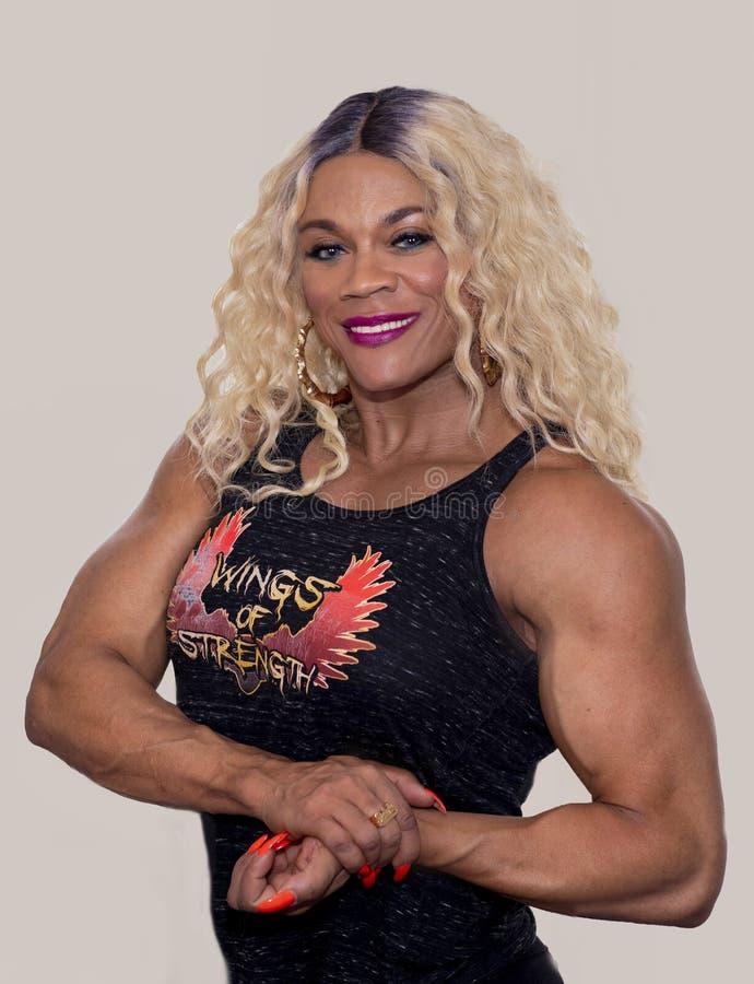 Kim Buck, tentando, Buff Bodybuilder imagen de archivo libre de regalías