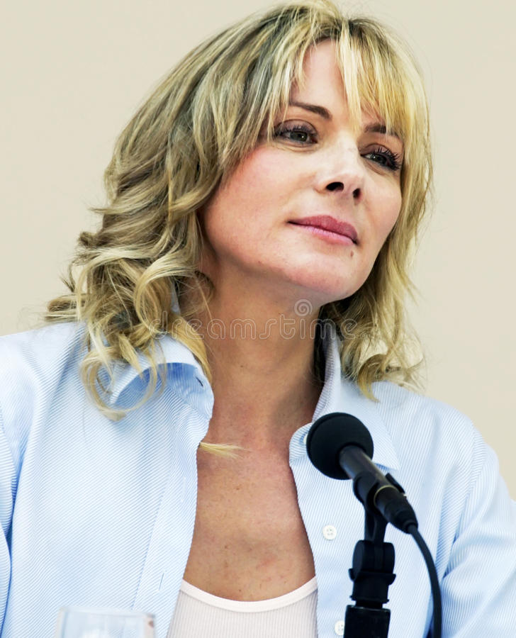 Kim Cattrall. English-Canadian actress Kim Cattrall, perhaps best known for playing the role of Samantha Jones in HBO TV's Sex and the City, takes part in a royalty free stock photo