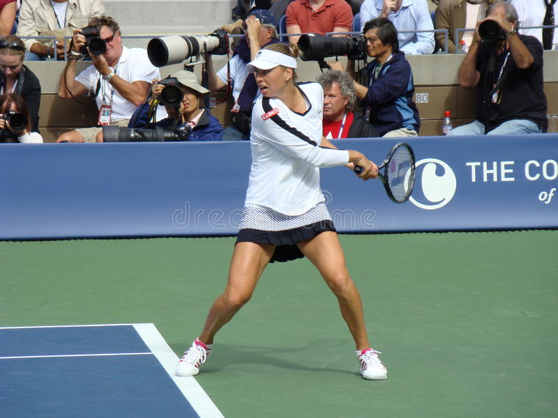 Kim Clijsters at US Open. Kim Clijsters playing a game at the US open in Flushing Meadow, New York stock image