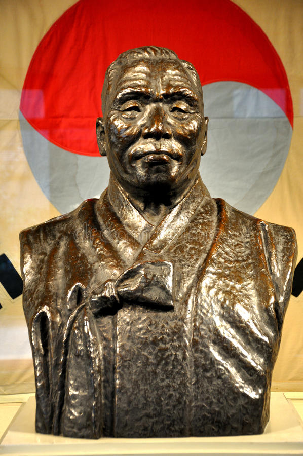 Kim Gu Statue. Kim Gu(August 29, 1876 – June 26, 1949),the sixth and later the last president of the Provisional Government of the Republic of Korea, was stock photography