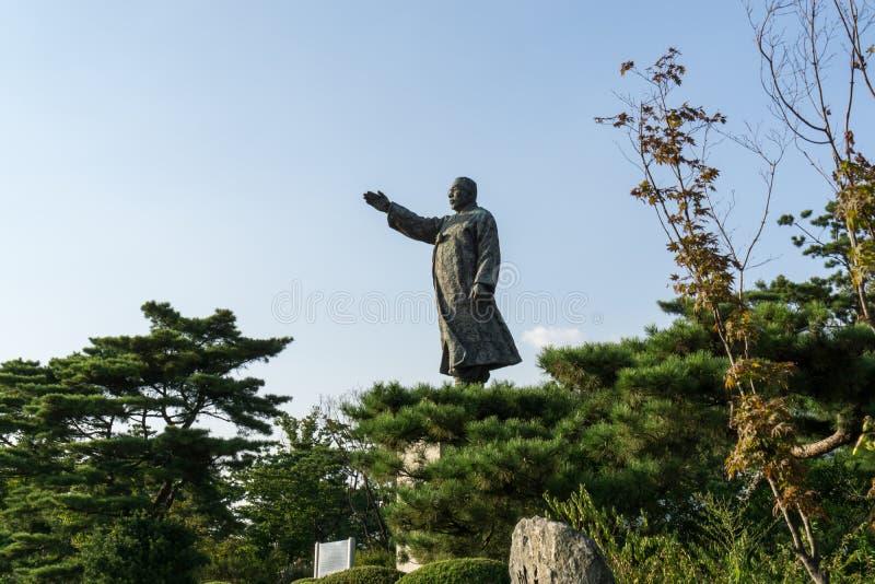 Kim gu Statue. In Baekbeom square in seoul south korea near namsan park area royalty free stock image