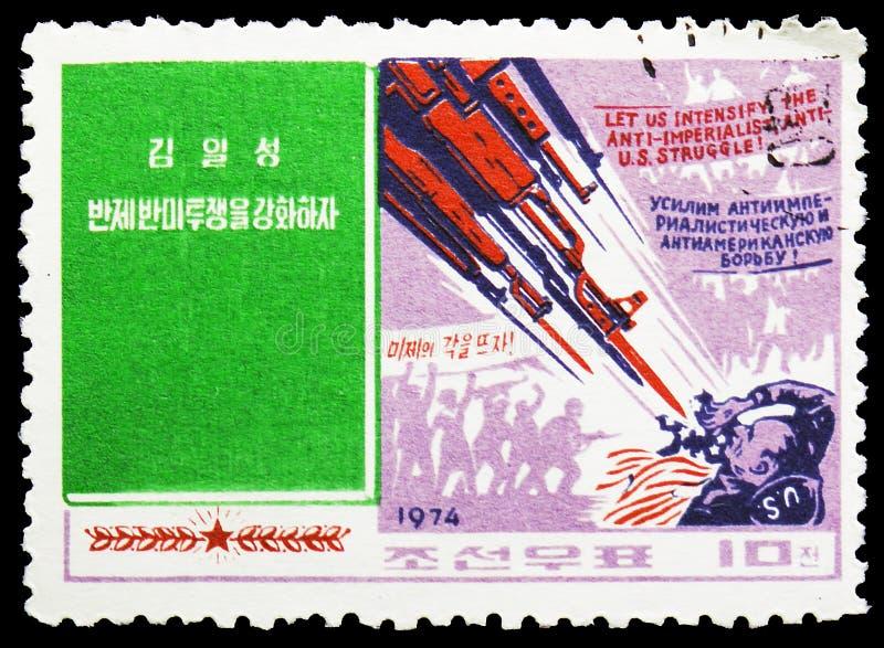 Kim Il Sung handstilar, serie, circa 1974 royaltyfri fotografi