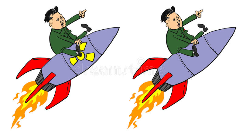 Kim Jong-un on Missile stock photos