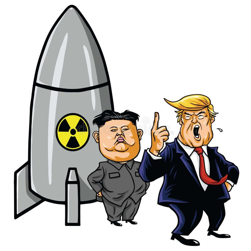 Kim Jong-un with Nuclear Missile against Trump. Cartoon Caricature Illustration Vector. May 1, 2017. Kim Jong-un with Nuclear Missile against Trump. Cartoon royalty free illustration