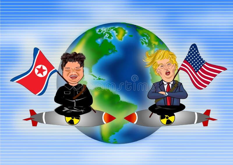 Kim Jong Un vs Donald Trump. The caricature character of Kim Jong Un and Donald Trump riding a nuclear rocket