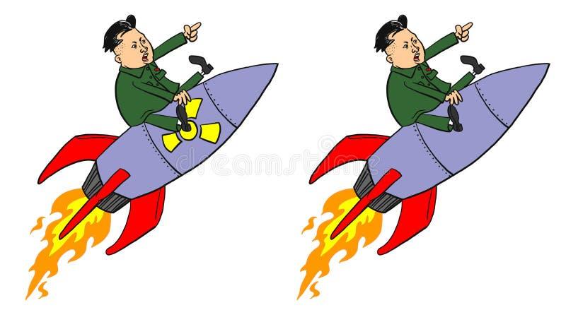 Kim-Jong-UNO auf Rakete stockfotos