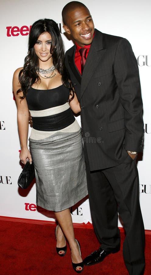 Kim Kardashian e Nick Cannon foto de stock royalty free