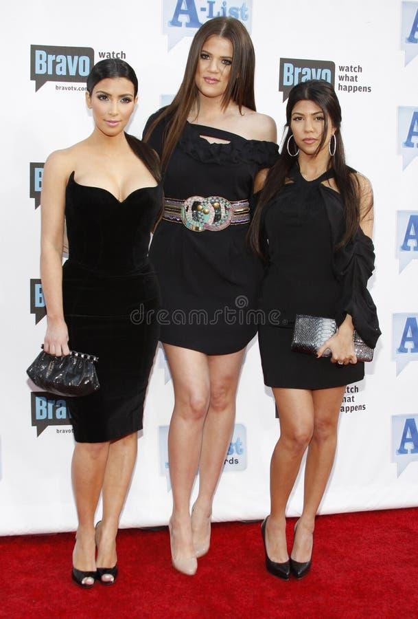 Kim Kardashian, Khloe Kardashian et Kourtney Kardashian photos libres de droits