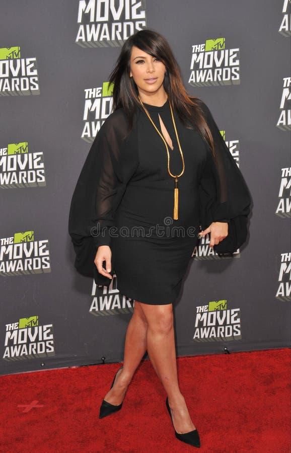 Kim Kardashian. LOS ANGELES, CA - APRIL 14, 2013: Kim Kardashian at the 2013 MTV Movie Awards at Sony Studios, Culver City royalty free stock images
