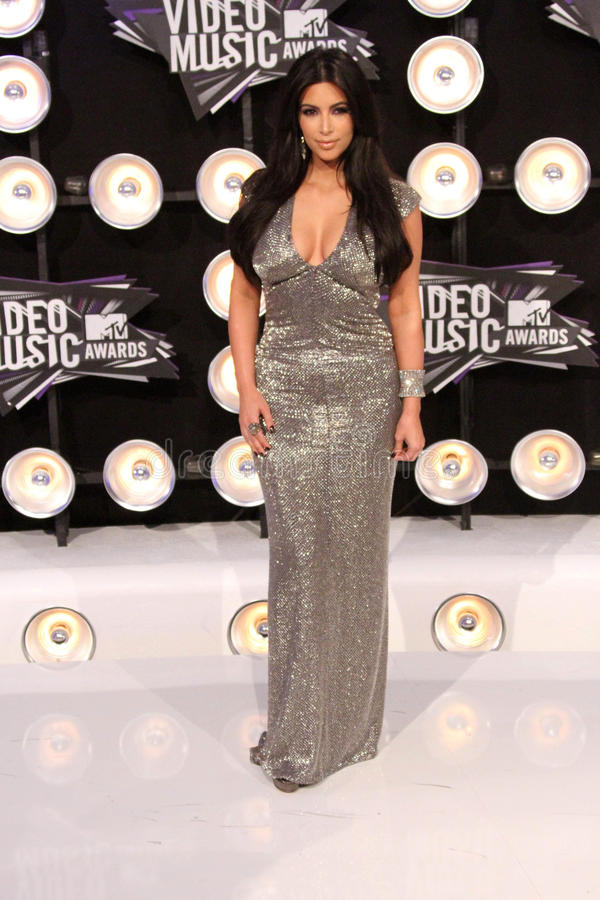Kim Kardashian. At the 2011 MTV Video Music Awards Arrivals, Nokia Theatre LA Live, Los Angeles, CA 08-28-11 royalty free stock photo
