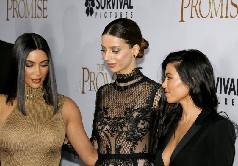 Kim Kardashian West, Angela Sarafyan et Kourtney Kardashian images stock