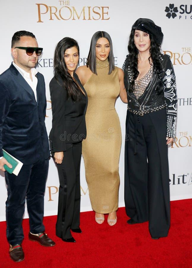 Kim Kardashian West, Cher et Kourtney Kardashian photographie stock libre de droits