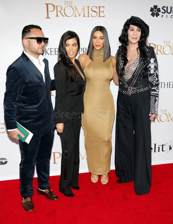 Kim Kardashian West, Cher et Kourtney Kardashian images libres de droits