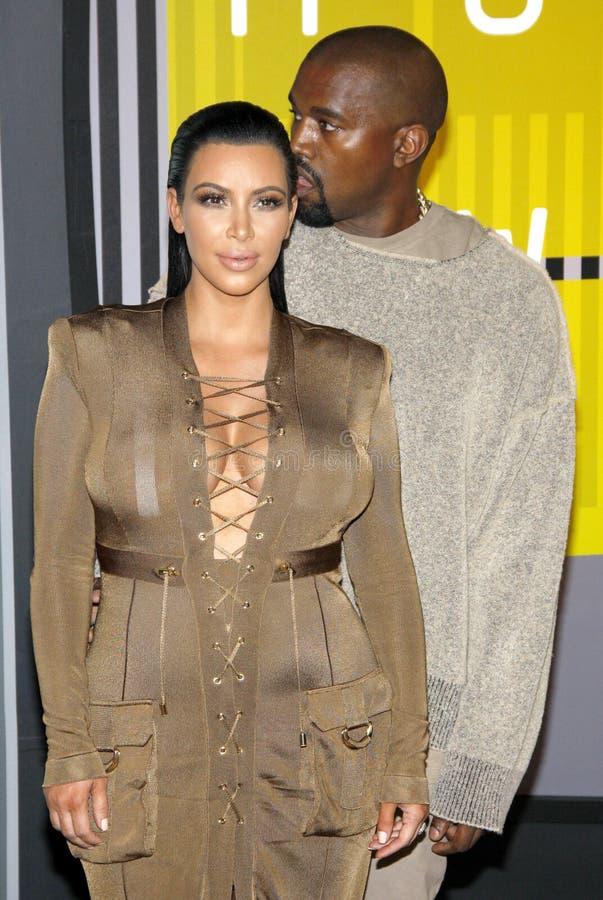 Kim Kardashian West und Kanye West stockbild