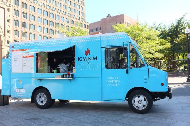 Kim Kim BBQ Food Truck. BOSTON, OCT. 7: Kim Kim BBQ food truck parked in downtown Boston, Massachusetts, United States taken on Oct. 7, 2015 royalty free stock photo