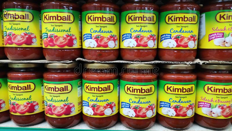 Kimball tomato sauce for spaghetti sold in store in Johor Bahru, Malaysia. JOHOR BAHRU, MALAYSIA- 21 APR, 2019: Kimball tomato sauce for spaghetti sold in store royalty free stock photography