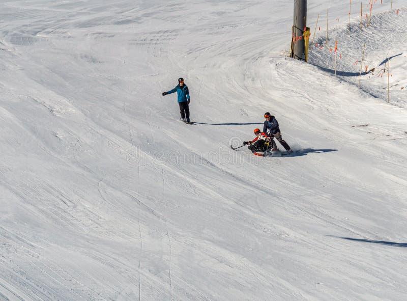 KIMBERLEY, CANADA - MAART 22, 2019: gehandicapte persoon die een Aanpassingssneeuwsporten berijden van zitten-skisvancouver royalty-vrije stock afbeeldingen