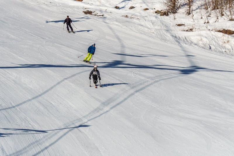 KIMBERLEY, CANADA - MAART 22, 2019: gehandicapte persoon die een Aanpassingssneeuwsporten berijden van zitten-skisvancouver stock foto's