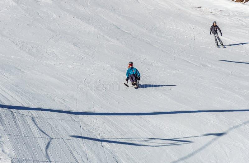 KIMBERLEY, CANADA - MAART 22, 2019: gehandicapte persoon die een Aanpassingssneeuwsporten berijden van zitten-skisvancouver royalty-vrije stock fotografie
