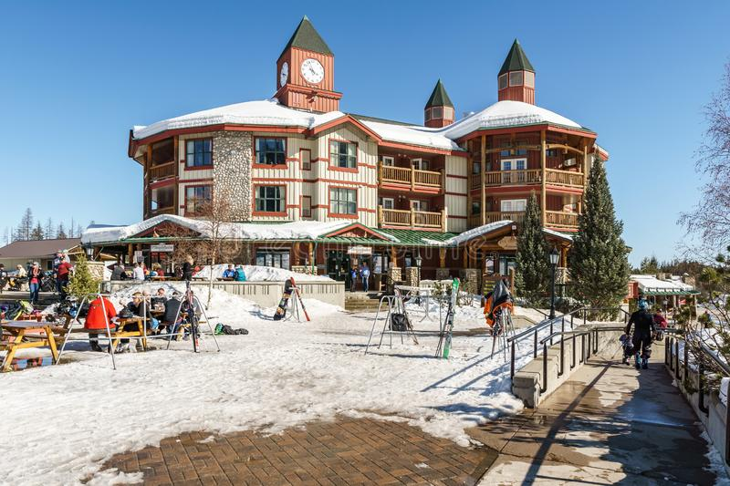 KIMBERLEY, CANADA - MARCH 19, 2019: ski resort administration building with food court. Mountain snow cold village house travel vacation winter recreation royalty free stock image