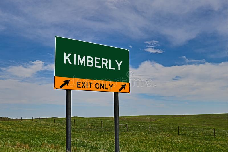 US Highway Exit Sign for Kimberly. Kimberly `EXIT ONLY` US Highway / Interstate / Motorway Sign stock photography