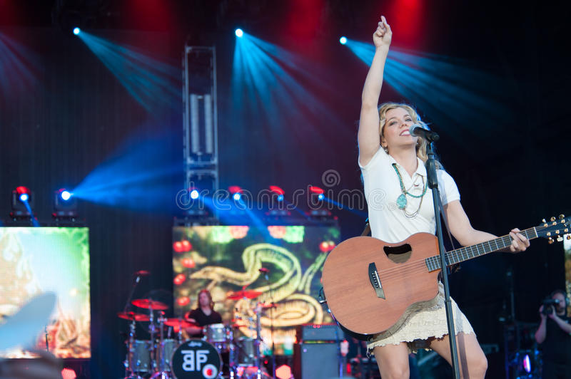 Kimberly Perry. WHEATLAND, CA - JULY 26: Kimberly Perry of The Band Perry performs in part of Brad Paisley's Virtual Reality Tour 2012 at Sleep Train stock image
