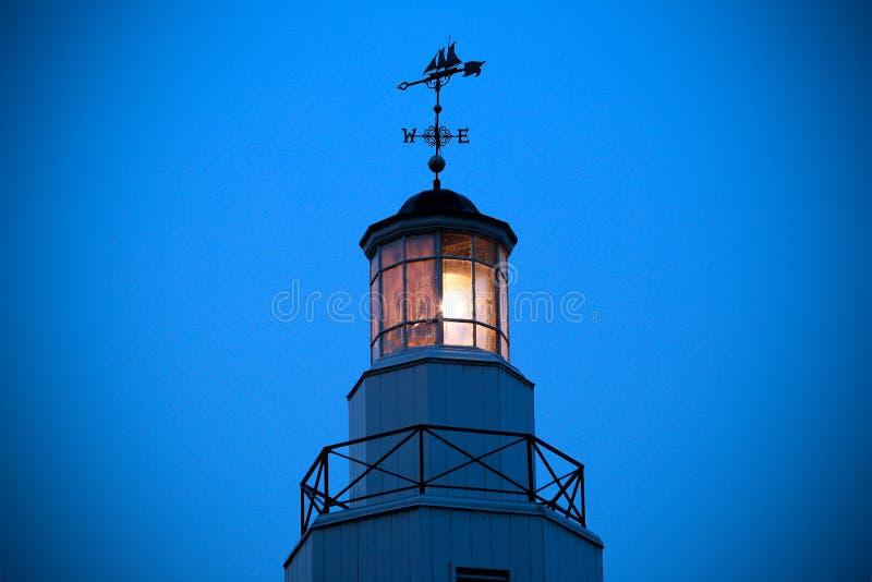 Kimberly Point Lighthouse Light com aleta de tempo fotografia de stock royalty free