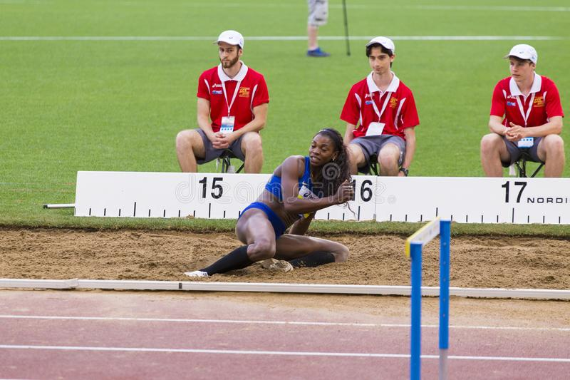 Kimberly Williams. Preapering for his long jump on Diamond League in Rome, Italy in 2016 stock photography