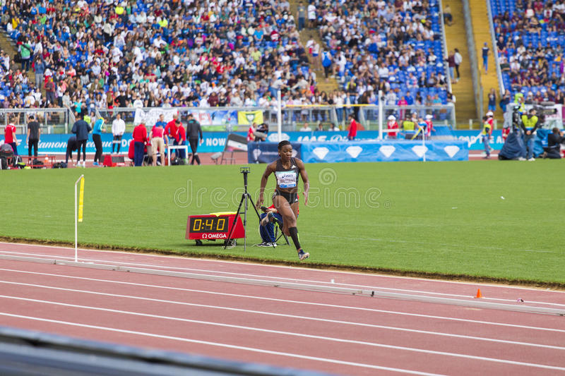Kimberly Williams. Preapering for his long jump on Diamond League in Rome, Italy in 2016 stock images