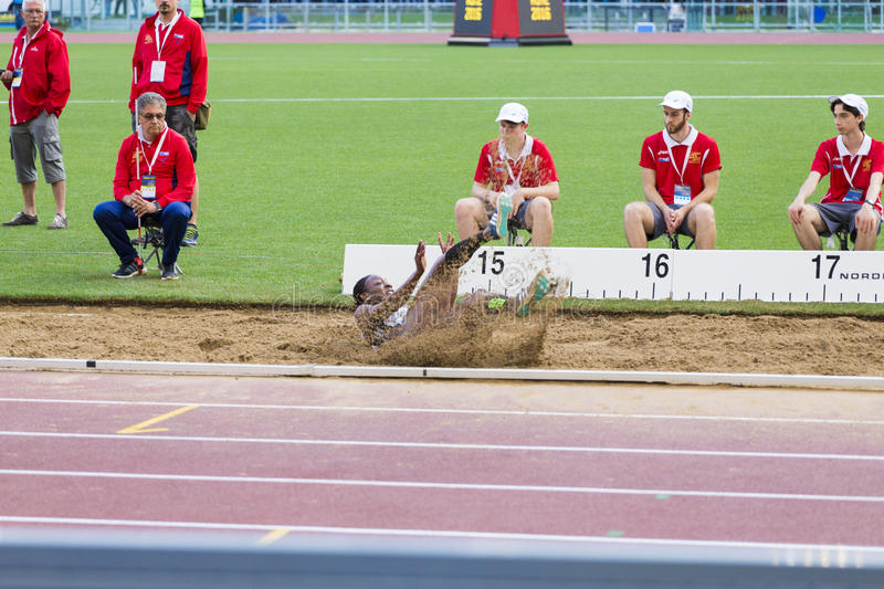 Kimberly Williams. Preapering for his long jump on Diamond League in Rome, Italy in 2016 royalty free stock photos