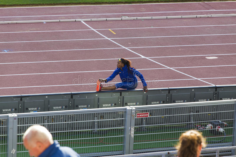 Kimberly Williams. Preapering for his long jump on Diamond League in Rome, Italy in 2016 royalty free stock image