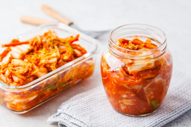Kimchi cabbage in a glass jar. Korean food, probiotics food royalty free stock photos
