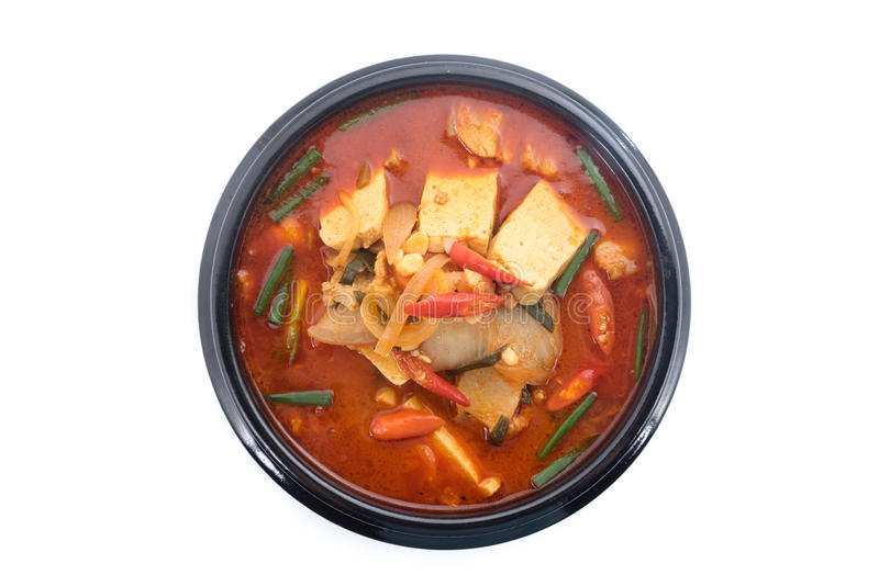 Kimchi gulasz, kimchi chigae, koreańska kuchnia, kimchi polewka zdjęcia stock