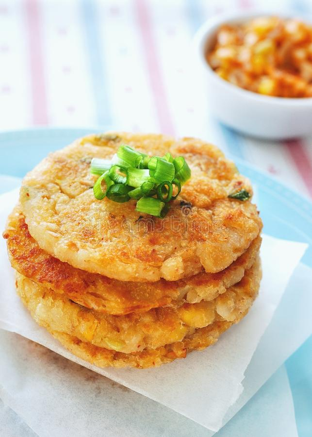 Kimchi Potato Pancakes royalty free stock photo