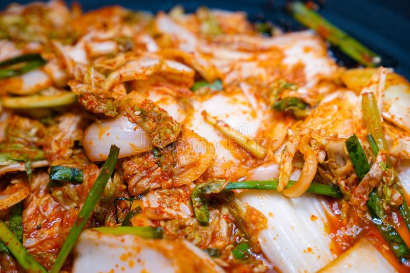 Kimchi side dish in the international buffet line royalty free stock photography