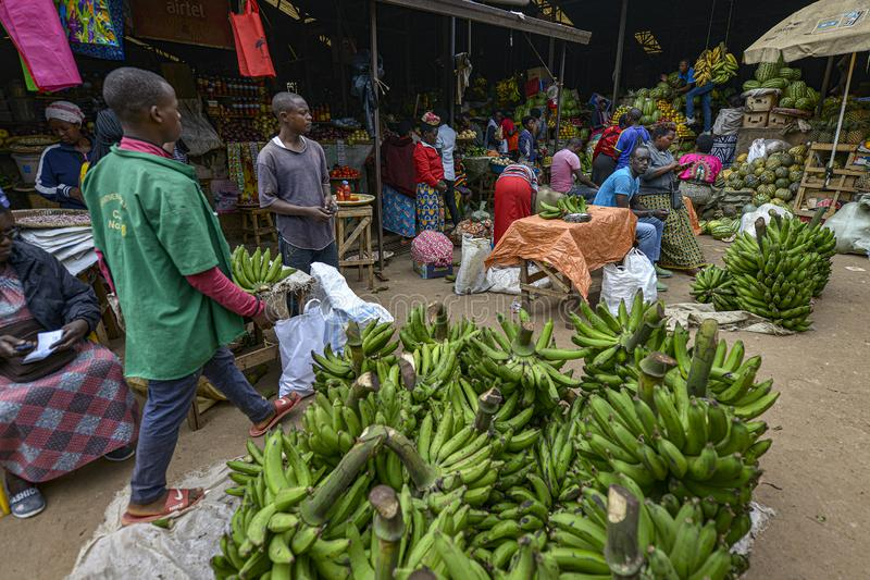 Kimironko-Markt in Kigali, Ruanda lizenzfreies stockbild