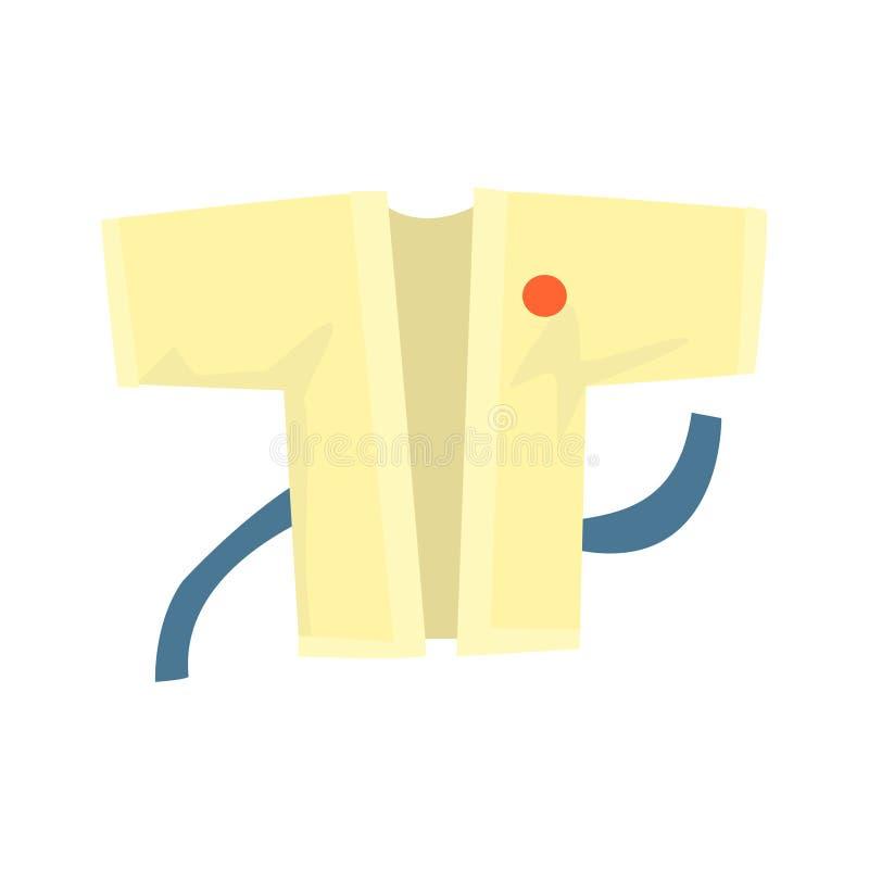 Kimono avec une ceinture bleue, habillement d'arts martiaux Illustration colorée de vecteur de bande dessinée illustration de vecteur