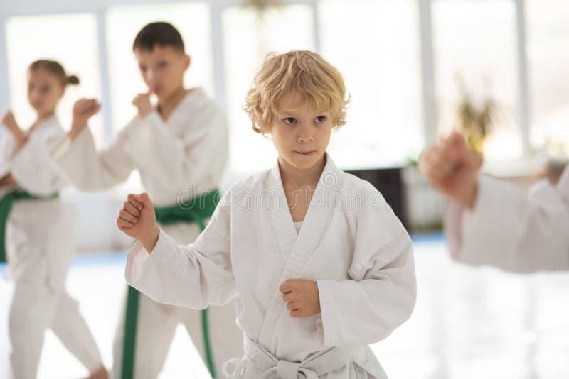 Kimono bianco d'uso del ragazzo che ripete i movimenti di aikidi fotografia stock